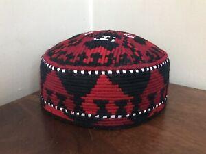 AFGHAN MAZARI PASHTEEN UZBEK TURKMEN RED CAP HAT HAND MADE EMBROIDERY