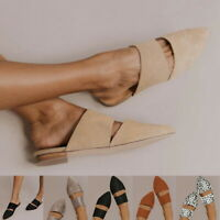 Summer Women's Gifts Pointed Toe Sandals Mules Shoes Flat Casual Size 4.5-11