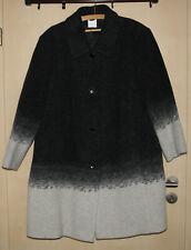 Grauer Wollmantel mit weißem Ombreeffekt und zwei Taschen | Gr. 52