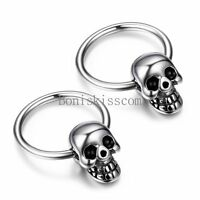 Punk Rock Silver Stainless Steel Men's Skull Head Hoop Earrings Halloween Gift