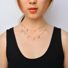 Women Multilayer Choker Moon Star Necklace Chain Gold Summer Jewelry Fashion