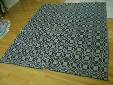 Large Victorian Coverlet 1870  Material Unusual Woven Pattern Remnant Navy  aei