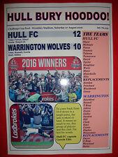 Hull FC 12 Warrington Wolves 10 - 2016 Challenge Cup final - souvenir print