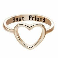 Women Heart Shape Best Friend Ring Friendship Promise Rings Bands Jewelry Gift