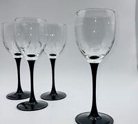 70s Vintage Luminarc Wine Glasses Black Stem France- Mint Condition  Set of 4