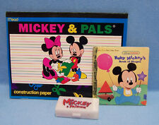Lot 3 Mickey Mouse Items Construction Paper Color Crayons in Case & Book