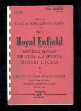 1961 ROYAL ENFIELD MODEL 500cc METEOR MINOR / De LUXE & SPORT PARTS MANUAL