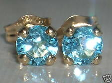 Brand New 4.5mm BlueTopaz 9ct Yellow gold Stud earrings freepost