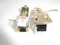 2 x Gold plated headshell mounts + cartridge for Technics, Numark, Vestax, DJ