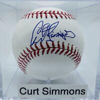 Phillies, Wiz Kid, Curt Simmons Autograph On OML Baseball. + UV Display Case.