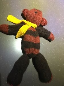 Handmade Knitted Teddy Bear Brown Mr Bean