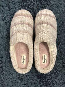 Dearfoams Women's Slipper Memory Foam Cream Stripe L (9-10)