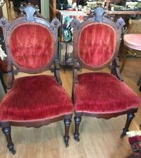Antique Renaissance Revival Victorian Walnut Pair Inlaid Velvet Chairs 1870-1880