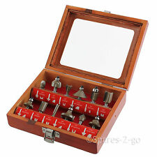 "12 Piece TCT Tungsten Carbide Tipped Router Bit Set 1/4"" Shank Sealed Bearing"
