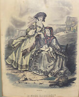 La Mode Illustree Vintage Paris Fashion Women Engraving Print Hand Colored