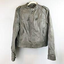 LAPIS Distressed Vegan Leather Moto Jacket Taupe Gray WMs SZ L