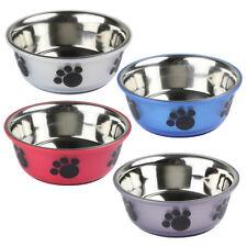 2 x Medium / Large Non Slip Stainless Steel Metal Dog Bowls Animal Food Water UK