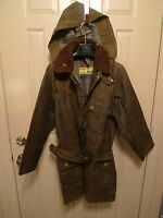 BARBOUR-  VINTAGE SOLWAY  WAXED COTTON JACKET WITH BELT & HOOD- RARE- SIZE 38