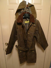 BARBOUR- VINTAGE-PRE CREST YELLOW LABEL- SOLWAY JACKET WITH BELT & HOOD-RARE-38