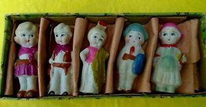 Vintage JAPAN Frozen Charlotte Bisque Dolls Great Paint w Box Cowgirl Dutch Girl
