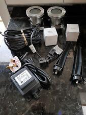 Pair (2) 12v Brushed Stainless Garden Spotlights  incl. 12v Transformer & Bulbs