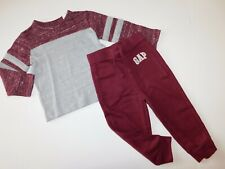 NWT Gap Toddler Boy 2 Pc Set Knit T-Shirt/Joggers Wine & Grey 3Yr Free Ship New