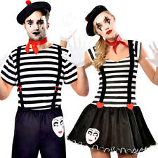 Mime Artist Adults Fancy Dress French Carnival Street Circus Couple Costumes New
