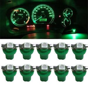10x T5 1SMD 5050 B8.5D Car LED Dash Gauge Dashboard Instrument Green Light Bulbs