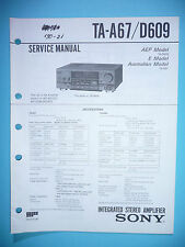Service Manual-Anleitung für Sony TA-A67/TA-D609 ,ORIGINAL