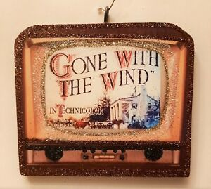RETRO TELEVISION -  GONE WITH the WIND #2 * Glitter CHRISTMAS ORNAMENT * Vtg Img