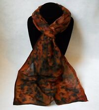 Hand Painted Silk Scarf Rust Brown Copper Black Womens Leopard Print Unique Gift