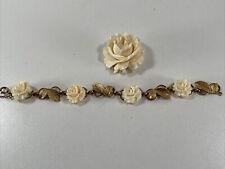 VINTAGE ESTATE Jewelry WELLS 14K GOLD FILLED FLOWER BRACELET & PIN