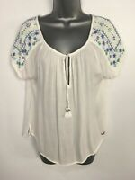 WOMENS HOLLISTER WHITE BLUE EMBROIDERED EMBELLISHED LIGHTWEIGHT SUMMER TOP XS