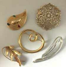 Signed Estate Brooch LOT Jewelry Pins 5 Piece Rhinestone Enamel Napier SarahCov