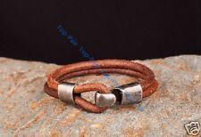 Men's COOL Metal Clasp Single Wrap Vintage Leather Wristband Bracelet Cuff Brown