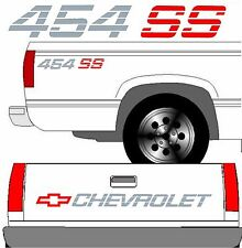 CHEVROLET SS Tailgate Truck Lettering + (2) 454 SS Vehicle Vinyl Decals FULL SET