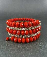 Red Faceted Glass Bead Rhinestone Clear crystal Memory Wire Bracelet