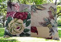 "Vintage Barkcloth Pillow Cover Patchwork of 4 Different Patterns 16"" x 23"""