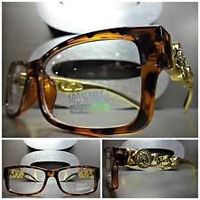 CONTEMPORARY MODERN Clear Lens EYE GLASSES Tortoise & Gold Chain Fashion Frame
