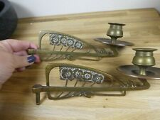 More details for pair vintage/art nouveau brass piano sconces, wall candle stick holders, poppies