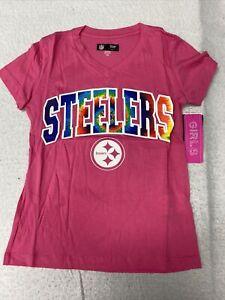 🌴 Nwt Girls Pink Tye Dye Vneck NFL Football Pittsburgh Steelers Xsmall 4/5 🌴