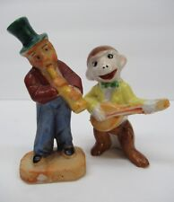Set Lot of 2 Occupied Japan Musicians Monkey Playing Guitar Man with Hat Flute