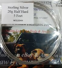 20 Gauge .925 Sterling Silver Half Hard Wire, Round - 5 Feet _ From RawTreasures