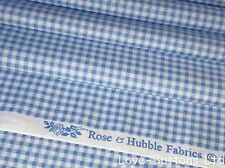 ROSE AND HUBBLE BLUE GINGHAM PRINT FABRIC 100% COTTON 112cm WIDE PER HALF METRE