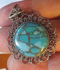 Superb Good Sized Sterling Silver and Copper Filled Turquoise Pendant 4.7g