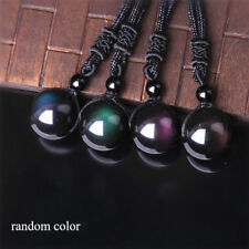 Clear Obsidian Pendant Rainbow Bring Good Luck Necklace Accessory Making 16mm