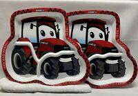 Lot Of 2- Red Case International Harvester Tractor Divider Kids Plates - Case IH