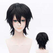 30CM Fashion Black Short Straight Layered Basic Anime Cosplay Wig + Wig Cap