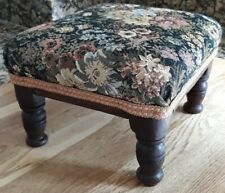 MID CENTURY TAPESTRY FABRIC STYLISH FOOT STOOL 27 x 24CM MULTI USE GOUT/KIDS VGC