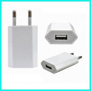 SPINA CARICABATTERIA PRESA DA MURO BIANCO USB PER IPHONE IPOD TABLET UNIVERSALE